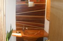 redwood sink and wall